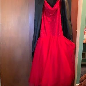 Red ruby mermaid gown prom dress